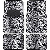 BDK Universal Fit 4-Piece Animal Print Velvet Carpet Floor Mat - (Leopard Gray)