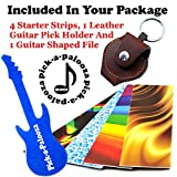 Pick-a-Palooza DIY Guitar Pick Punch - The Premium Guitar Pick Maker and a Leather Key Chain Pick Holder -  Gift Pack - Blue