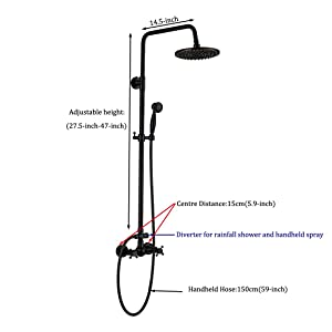 Rozin Bathroom Shower Faucet Set 2 Knobs Mixing 8-inch Rainfall Shower Head + Handheld Spray Oil Rubbed Bronze (Color: Oil Rubbed Bronze)
