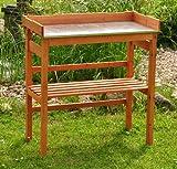 Pflanztisch / Gartentisch imprägniert - Pflanzhilfe mit Stahlblechfläche für rückenschonendes Arbeiten - 78x39 cm