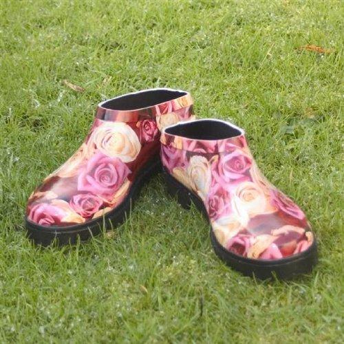 Ladies Roses Print Funky Clog Wellies