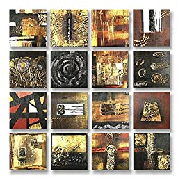 Neron Art - Handpainted Abstract Oil Painting on Gallery Wrapped Canvas Group of 16 pieces - Lincoln 32X32 inch (81X81 cm)