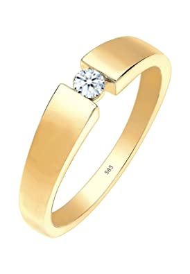 Diamore Women's Ring 585 Yellow Gold Ladies Solitaire Engagement Diamond Ring Brilliant Cut 0.10 Carat, White