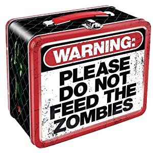 "7.75 "" X 6.75 "" Warning: Please Do Not Feed The Zombies Retro Style Lunch Box"