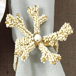 Hand Beaded Coral Napkin Rings, 4 Pieces (Ivory Color)