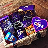 Cadbury All Time Favourites With Love Chocolate Hamper - Hot Chocolate, Cadbury Roses, Buttons, Heroes, Popcorn and With Love Heart- Great Say You Love Someone Gift - By Moreton Gifts