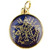 Color Pentagram Pendant Tetragrammaton Pagan Wiccan Occult Gold Tone 16mm Medal (Dark Blue)