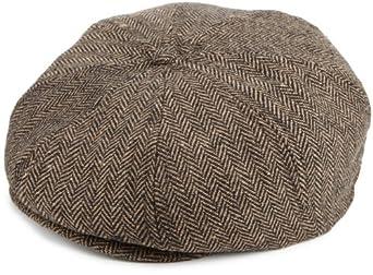 Brixton Men's Brood Woven Cap, Brown/Khaki Herringbone, M