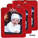 2014 Magnetic Glitter Christmas Photo Frame Ornaments, Vertical 3-pack - Red