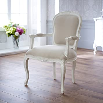 French Chateau White Painted Carved Armchair