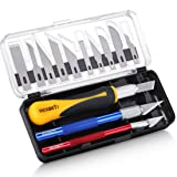 REXBETI 16 Piece Precision Hobby Craft Knife Set, with 10 Piece Refill SK5 Blades, Suitable for Art Modeling, Scrapbooking and Sculpture