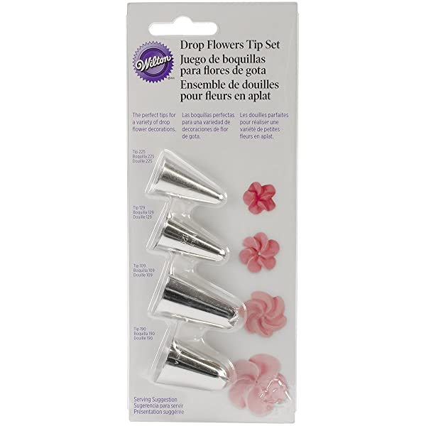 Drop Flower Decorating Piping Tip Set, 4 piece set (Color: Silver, Tamaño: 0.8 x 2.2 x 6.8 Inches)