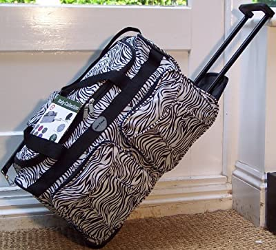 Travel Holdall small 32 liters 1.65 kgs cabin Bag Carry On Wheels Animal print Black White Zebra trolley wheeled hand Luggage