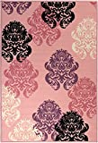"""Glamour Collection Pink Contemporary Damask Design Kids Rug (3'3""""x5'0"""") Machine-Washable Non-Slip Kitchen and Bathroom Mat Rug by Ottomanson"""