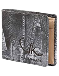 Vagan-kate Denim Design Leather Black Wallet For Men