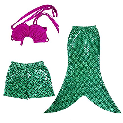 Jastore® Little Girls 3 Pcs Princess Mermaid Tail Swimmable Bikini Set Fancy Costume (130(5-6T)) (Little Mermaid Kids Costume)