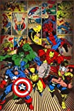Children's Maxi Poster featuring The Superheroes of Classic Marvel Comics Including Spiderman, Thor, Captain America, The Hulk, Wolverine and Iron Man 61x91.5cm