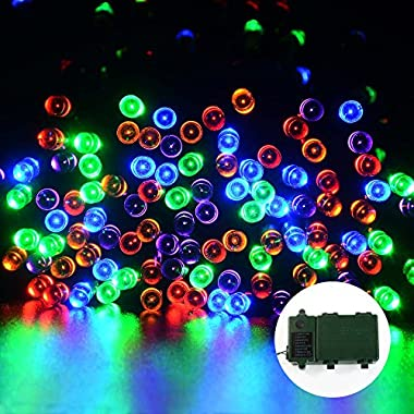 lederTEK 200 LED 52.5ft Super Bright Battery OperatedString Lights with 8 Modes Automatic Timer and Indicator Light for Halloween Lights Decoration, Indoor, Outdoor, Waterproof