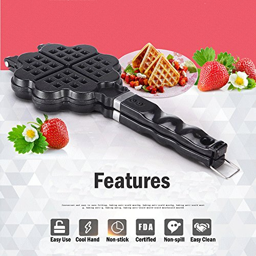TAMUME Waffle Piastra Cuore Piano Cottura Alluminio-forma Stampo per Cialde Cuore per Cialde Belga Usando Fuoco o Stufe --4 Cuore Slice Waffle Maker Piastra Per Waffle