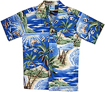 Rjc boy 39 s tropical fish island surf hawaiian for Fish hawaiian shirt