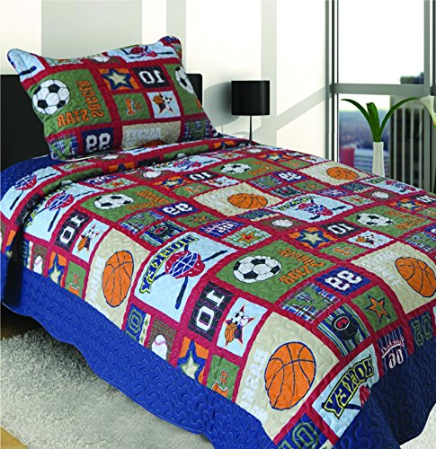 Mk Collection 2 Pc Bedspread Boys Sport Hockey Basketball Baseball Soccer Patchwork Blue Orange Red New 007 (Basketball Quilt compare prices)