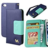 Case for Iphone 5s,Case for Iphone 5, By HiLDA,Wallet Case,PU Leather Case,Cut,Credit Card Holder,Flip Cover Skin,(Blue)