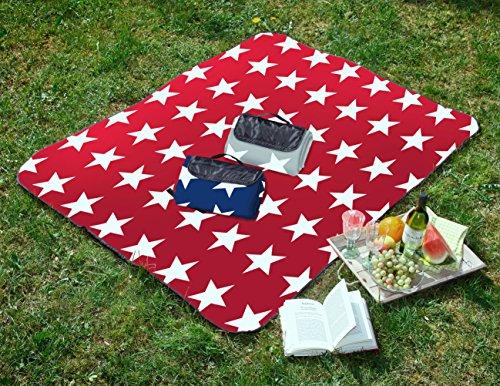 Tolle Picknickdecke mit Sterne in Normal- und XXL-Grösse, 200x200 - blau