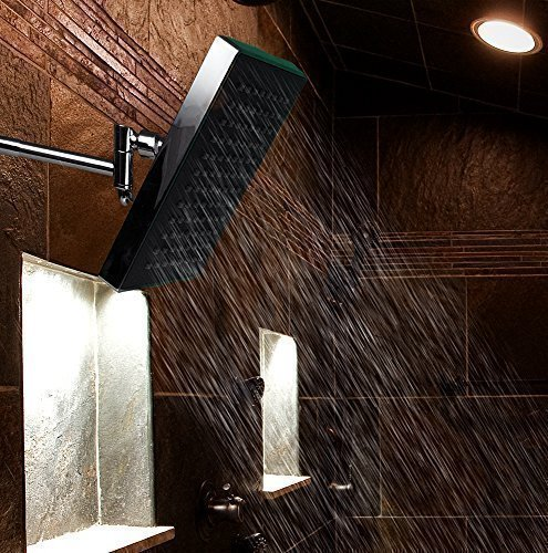 Drisen Products 8 inch Rain Shower Head Rain Style Chrome Finish with 10 Inch Adjustable Shower Arm