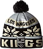 NHL Los Angeles Kings Men's Face-Off Winter Cuffed Pom Knit Beanie, One Size, Gray