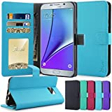 Note 5 Case, Tauri [Stand Feature] Wallet Leather Case with Stand, ID & Credit Card Pockets Flip Cover For Samsung Galaxy Note 5 - Blue