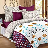 Story@Home Bed in a Beg Floral Print Printed Cotton Satin 4 Piece Combo Set of Double Luxurious Reversible Comforter and Premium Elegant Bedsheets with 2 Pillow Covers, Purple