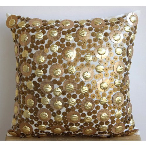 Gold Disco Balls - 16X16 Inches Square Decorative Throw Gold Silk Pillow Covers Embellished With Textured Sequins front-429622