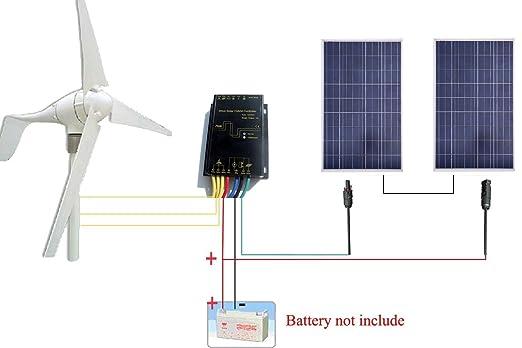ECO-WORTHY 24V 600W/H Hybrid System: 400W Wind Turbine Generator & 200Watt 2*100W PV Solar Panel