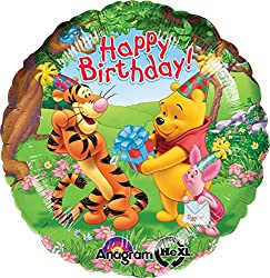 Anagram International Pooh and Friends Happy Birthday Foil Balloon Pack, Multicolor