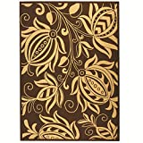 Safavieh Courtyard Collection CY2961-3409 Chocolate and Natural Area Rug, 8 feet by 11 feet (8' x 11')