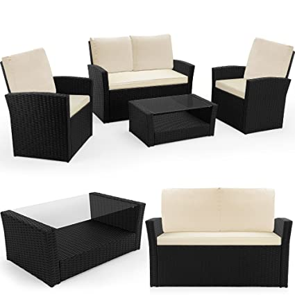 Rattan Garden Furniture Table and Chairs Set Black Conservatory Patio Outdoor Lounge