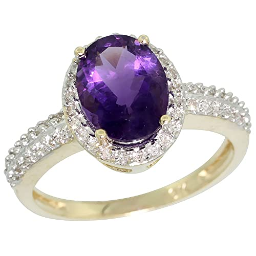 9ct Yellow Gold Diamond Natural Amethyst Ring Oval 9x7mm, sizes J - T