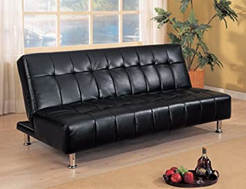 Black Vinyl Button Tufted Sofa Bed