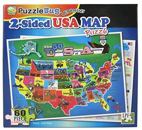Puzzlebug Learning 2-Sided 60 Piece Puzzle - USA Map