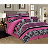 5 Pieces Twin Hot Pink, Black And White Leopard Zebra Comforter Set Bed-in-a-bag Bedding
