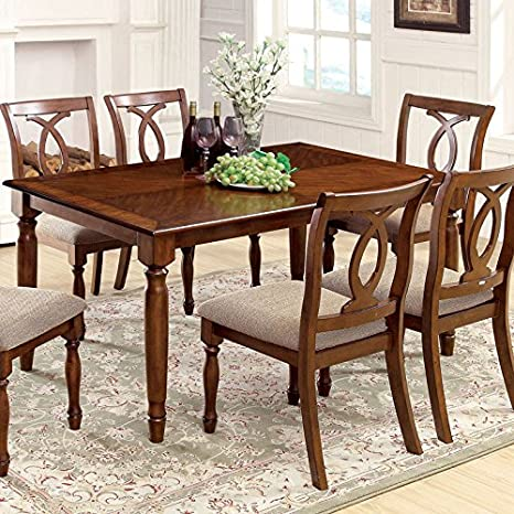 Saybrook Transitional Style Dark Oak Finish 7-Piece Dining Table Set