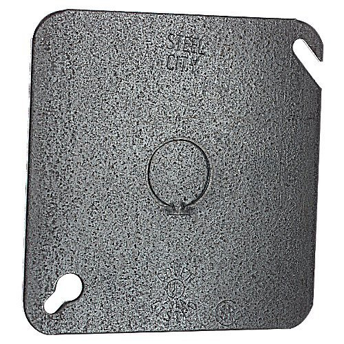 Steel City 52C6 Outlet Box Cover, Square, Flat, 4-Inch, Galvanized, 50-Pack by Thomas & Betts