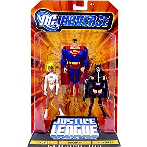DC Universe Justice League Unlimited Action Figure 3Pack Galatea, Superman & Huntress