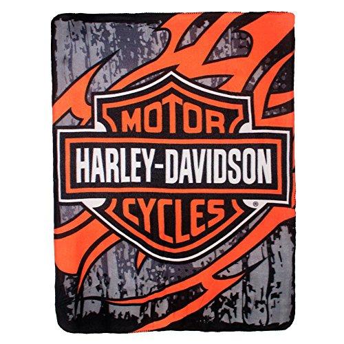 Harley Davidson Biker Tattoo Fleece Throw