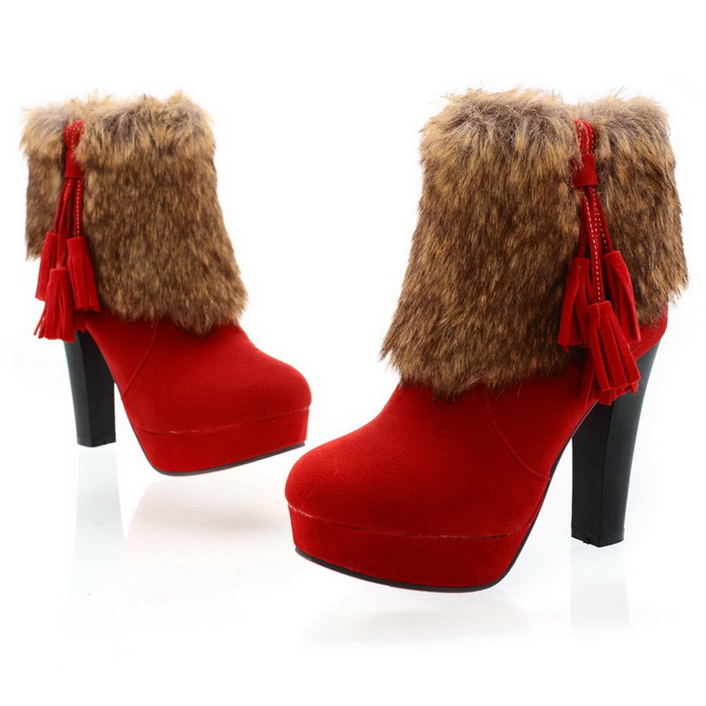 QueenFashion Women's High Chunky Heels Red Bottom Ankle Boots with Zipper and Purl,Red,39