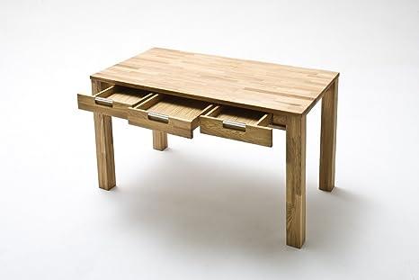 Dreams4Home Schreibtisch 'Florenz' Holz massiv Tisch Computertisch, Buro, Arbeitszimmer, Kinderzimmer, Asteiche, Kernbuche geölt, Breite 135 cm, 3 Schubladen, Farbe:Kernbuche