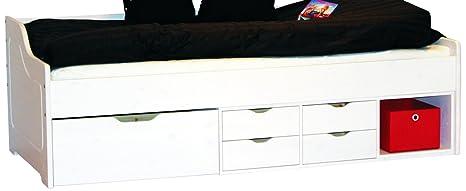 LifeStyleDesign 5013516 Funktionsbett Marco 90 x 200 cm, 205 x 98 cm, kiefer, weiß