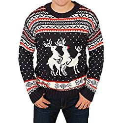 Ugly Christmas Sweater - Reindeer Threesome Sweater Featuring Rudolph