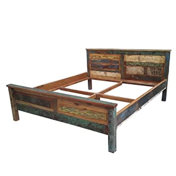 Shabby Doppelbett in Bunt Recyclingholz Pharao24