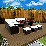 9 Seater Rattan Corner Garden Sofa & Dining Set Furniture 2016 Black Brown Dark MixedGrey (Brown With Light Cushions)